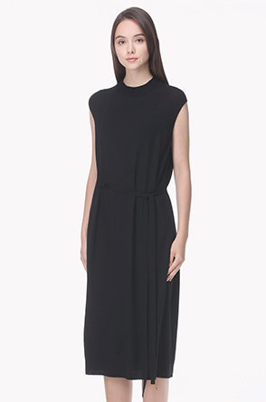 Lambs wool cashmere side belted knit dress