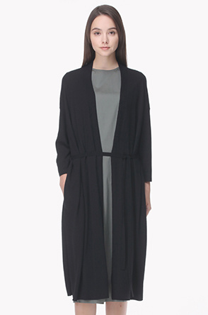Lambs wool cashmere belted knit cardigan