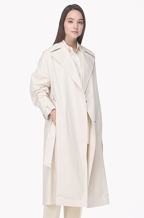 Double hidden button trench coat