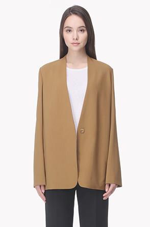 Comfortable wool blend collarless jacket