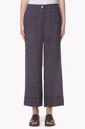Patterned silky wide pants