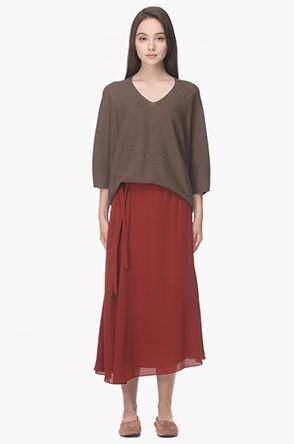 Silk blend long wrap skirt