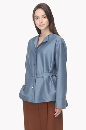 Collarless back belted open shirt