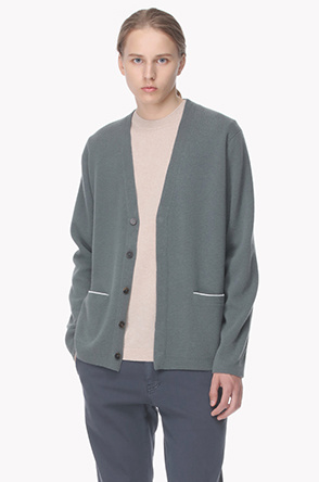 Wool blend line point knit cardigan