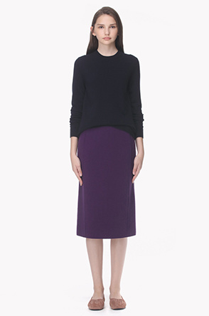Wool and cashmere blend knit skirt