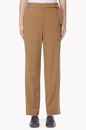 Buckle strap belted wool blend pants