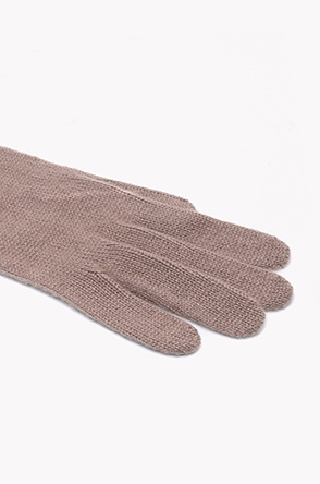 Ribbed wrist cashmere knit gloves