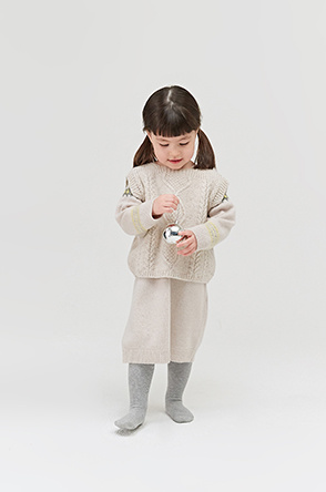 [KIDS] Lambswool cashmere cable knit vest