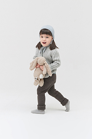 [KIDS] Two texture strap point cashmere hat