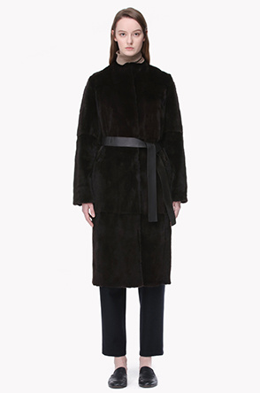 Leather belted fur reversible coat