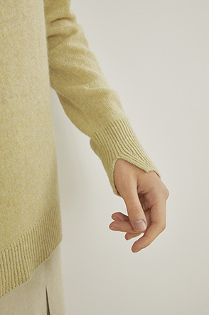 Whole garment cashmere knit top