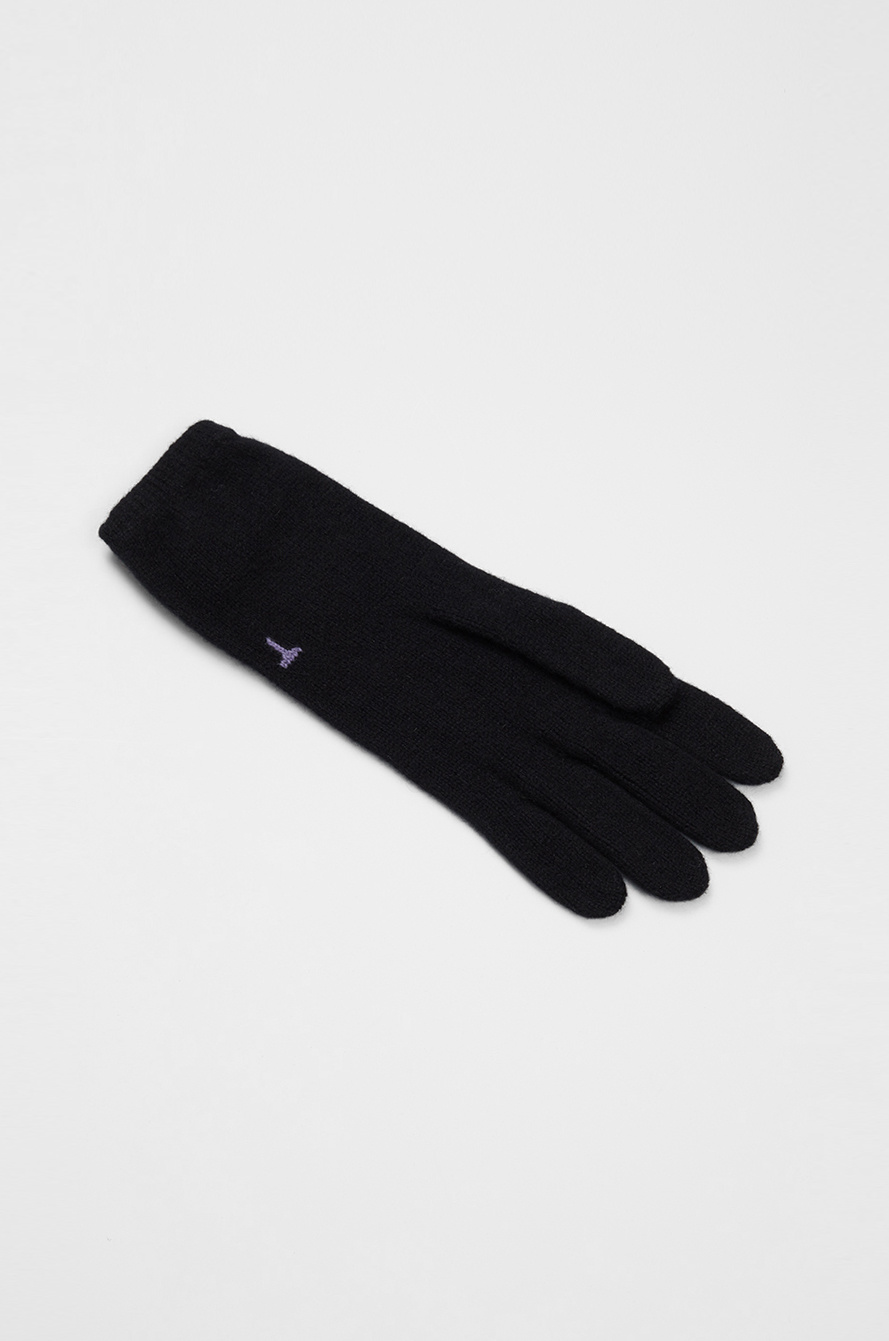 Lettering cashmere knit gloves