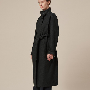 Mélange belted trench coat