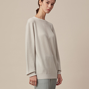 Whole garment round neck knit top
