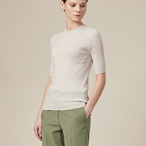 Color line rib knit top