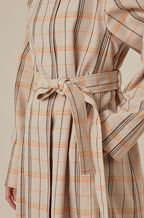 Belted check trench coat