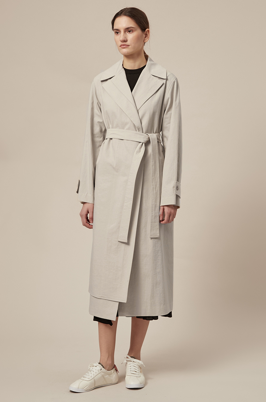 Layered placket trench coat