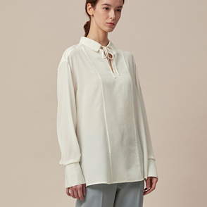 Open collar silk top