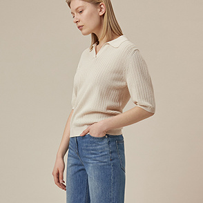 Open collar knit top