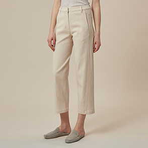 Linen blend denim crop pants