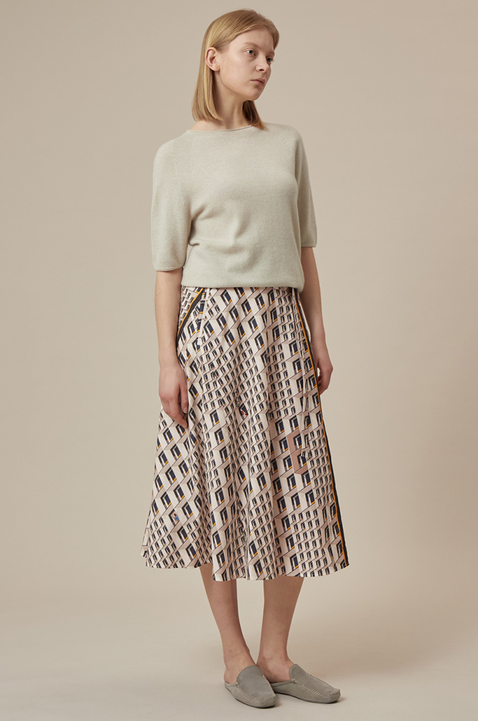 Belted print skirt