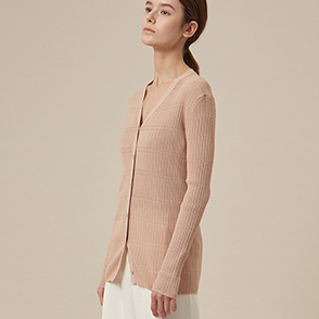 Slim fit line knit cardigan