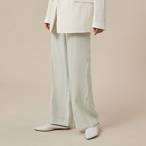 Button tab linen blend pants