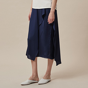 Flounce panel wrap-around skirt