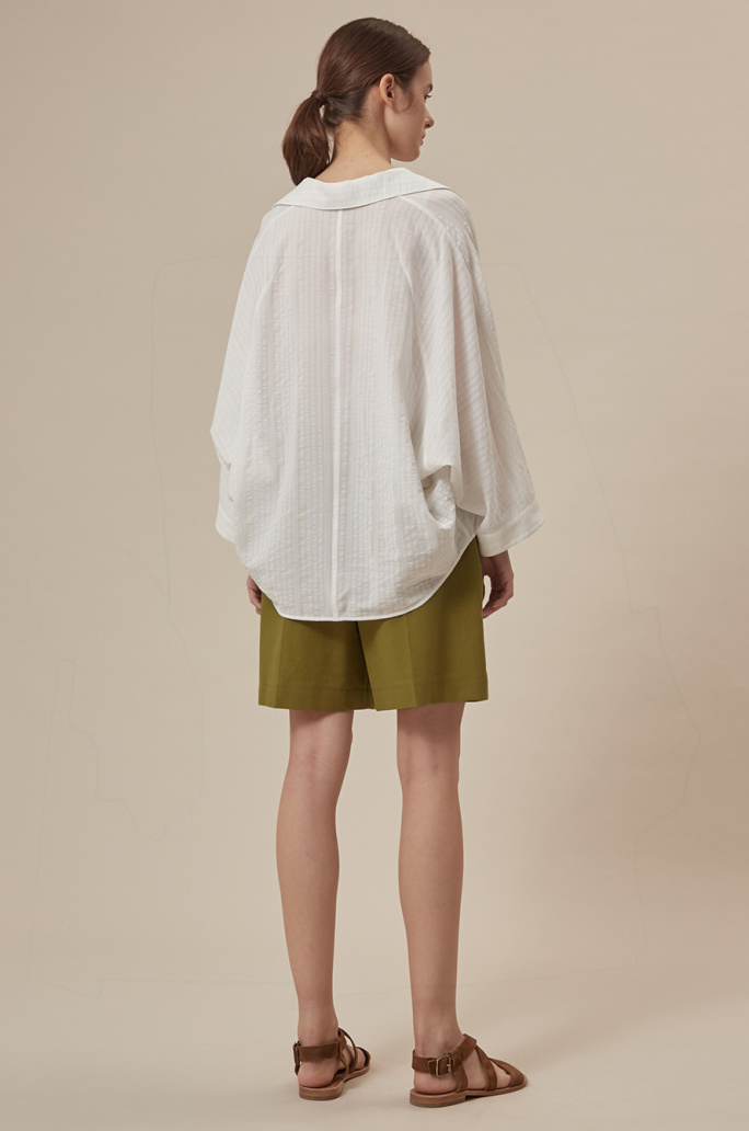 Dolman sleeve sheer shirt