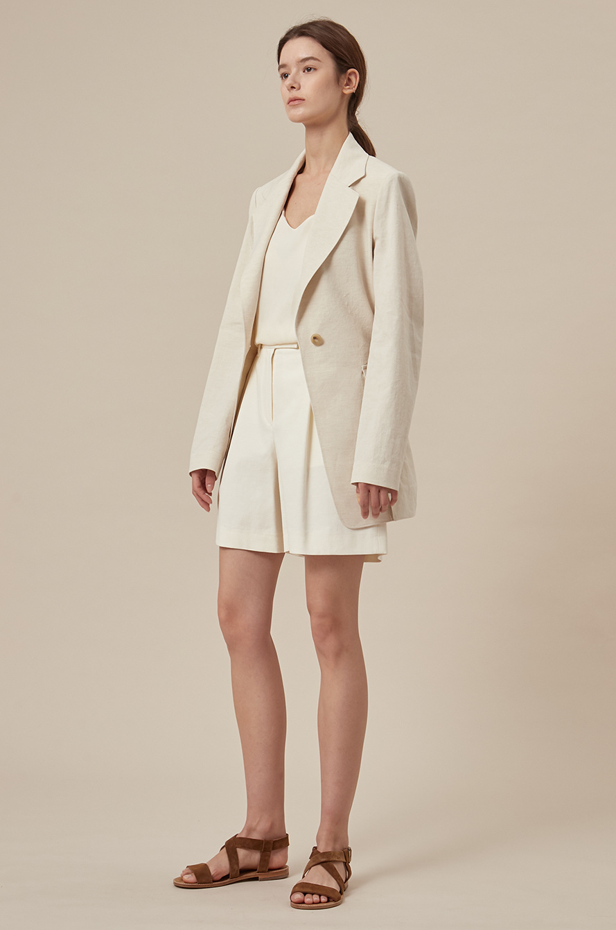 Linen blend belted single jacket