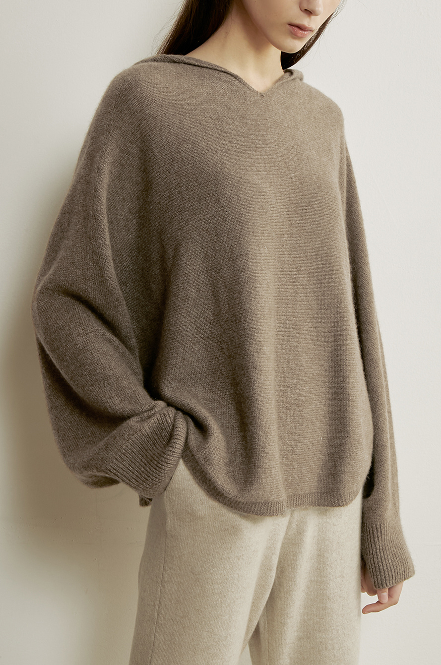 fluffy hooded knit top