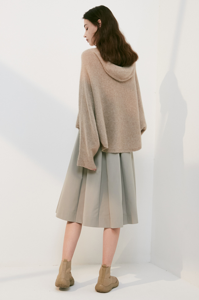 whole garment hooded knit top