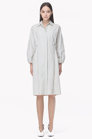Banded back waist zip up shirt dress
