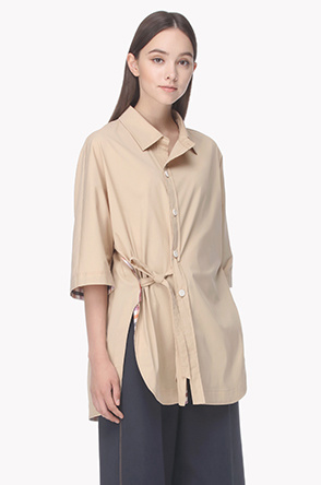 Side belted oversized shirt