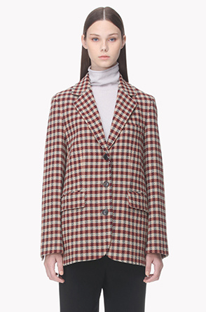 Notched lapel rustic check pattern jacket
