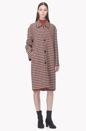 Rustic check pattern long jacket