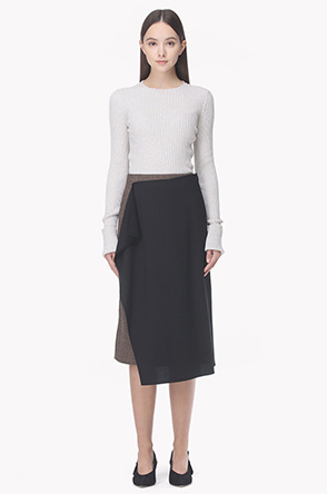 Check paneled wrap skirt