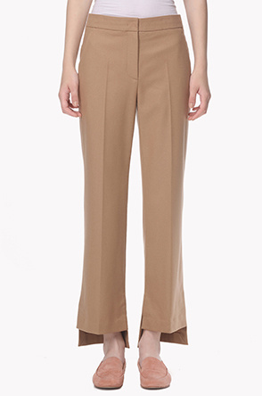 Lambswool blend side hem slit pants