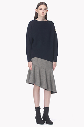 Front hem line ruffle hound tooth check skirt