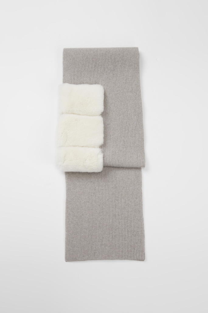 Fur block knit muffler