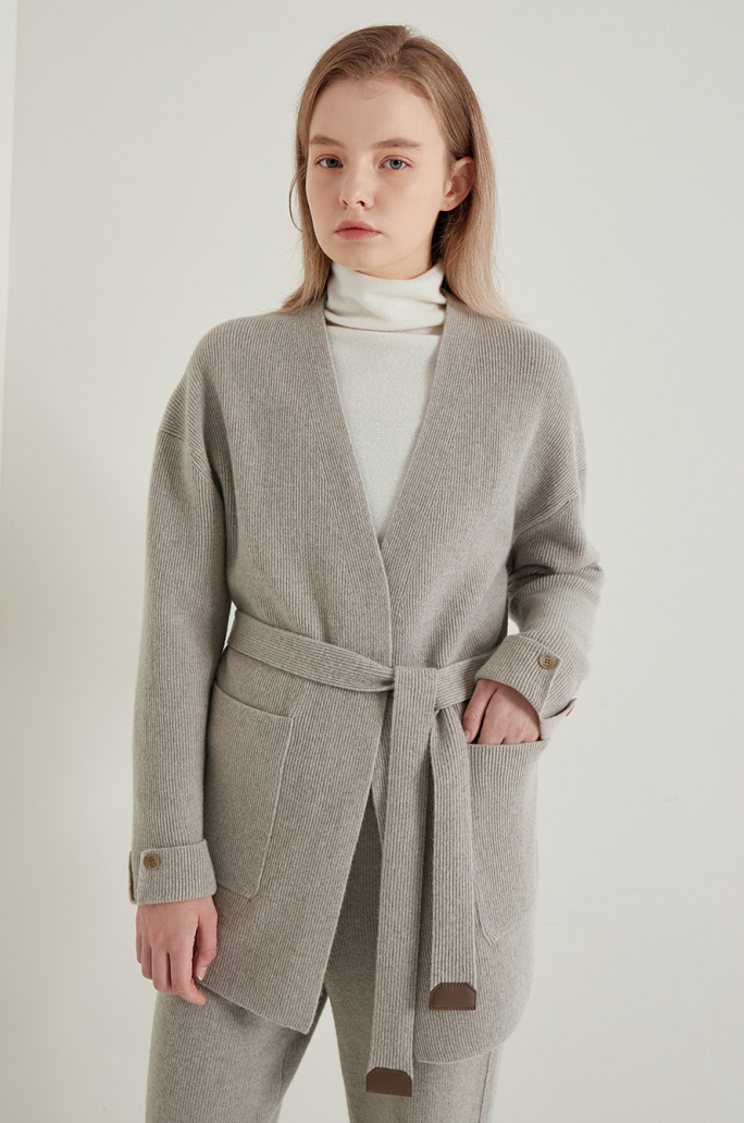 Belted open knit cardigan