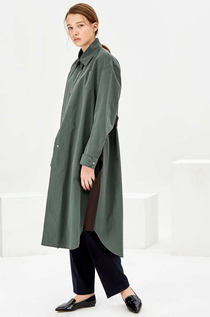 Washing single belted trench coat