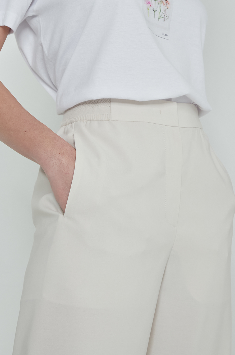 Texture block back banding pants