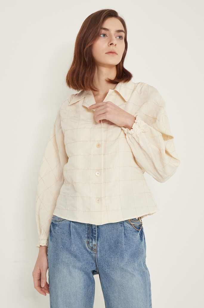 Check open collar shirt