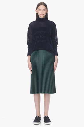 Belt loop velvet pleats skirt