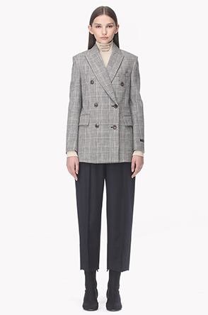 Peaked lapel double check jacket