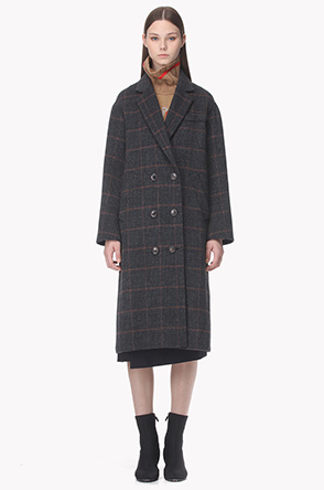Wool blend button point check coat