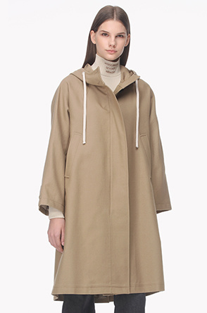 Wool blend hood neck coat
