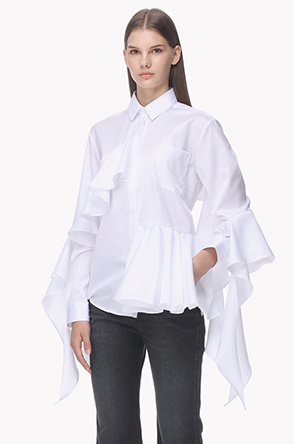 Ruffle details cotton shirts
