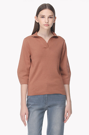 3/4 Sleeve V wrapped neck knit top